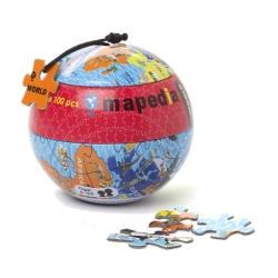 """Пазл в металлическом шаре """"Карта мира"""", 100 элементов"""